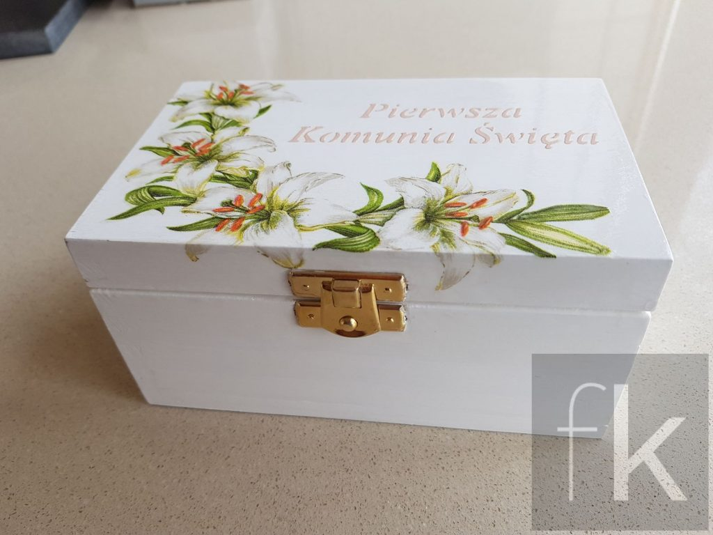 Pudełko decoupage kwiaty
